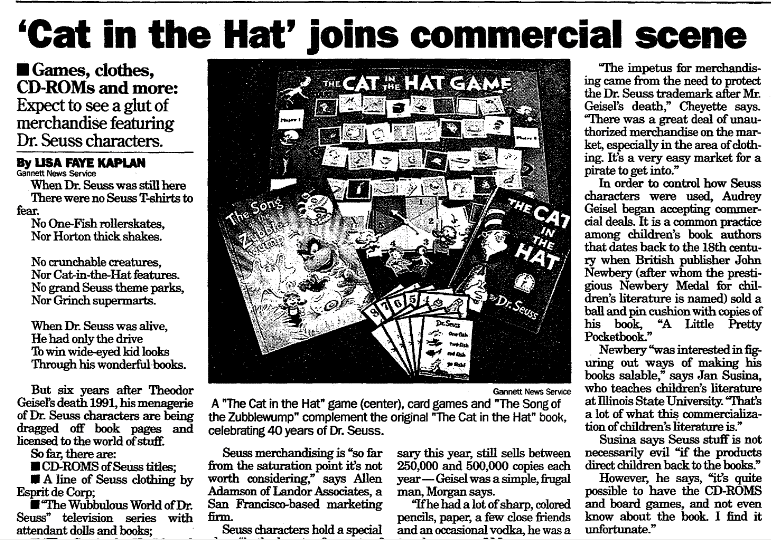 'Cat in the Hat' Joins Commercial Scene, Register Star newspaper article 7 February 1997