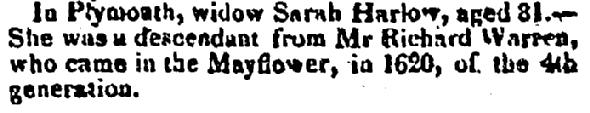 Sarah Harlow obituary, Repertory newspaper article 13 March 1823