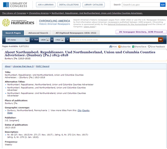 screenshot of the Library of Congress website, Chronicling America: Historic American Newspapers