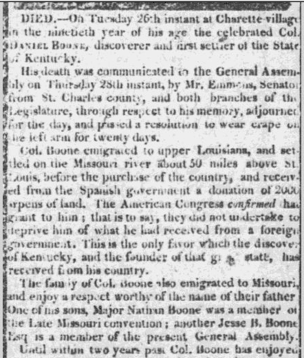 obituary for Daniel Boone, St. Louis Enquirer newspaper article 30 September 1820