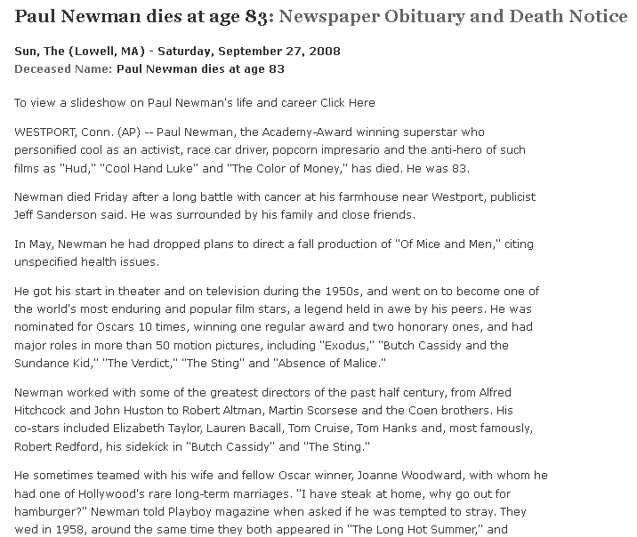 obituary for Paul Newman, Sun newspaper article 27 September 2008