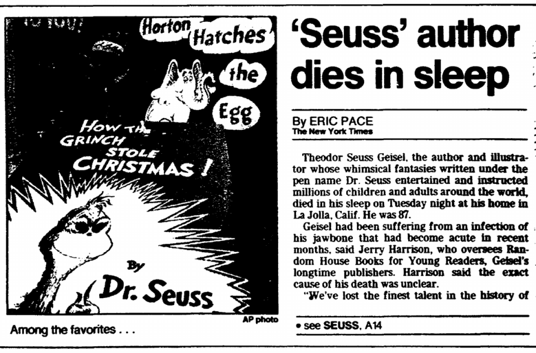'Seuss' Author Dies in Sleep, Trenton Evening Times newspaper article 26 September 1991