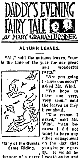 Daddy's Evening Fairy Tale: Autumn Leaves, Aberdeen Daily News newspaper article 10 October 1917