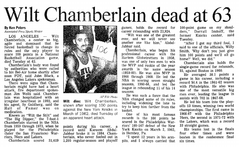 Wilt Chamberlain Dead at 63, Aberdeen Daily News newspaper obituary 13 October 1999