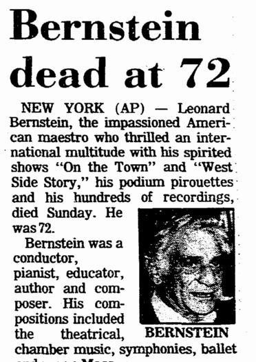 Bernstein Dead at 72, Aberdeen Daily News newspaper article 15 October 1990