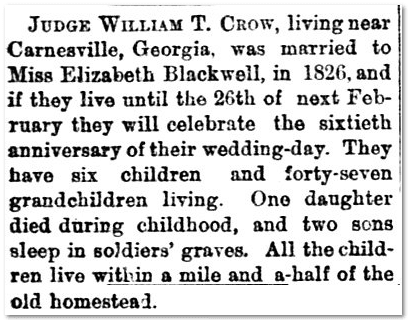 notice about William T. Crow, Aberdeen Weekly News newspaper article 2 October 1885
