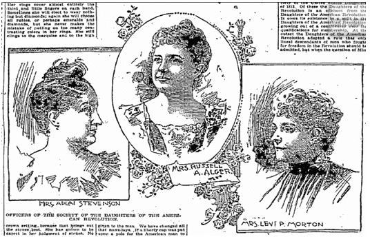 illustrations of prominent officers of the Daughters of the American Revolution society, Age-Herald newspaper article 21 February 1898