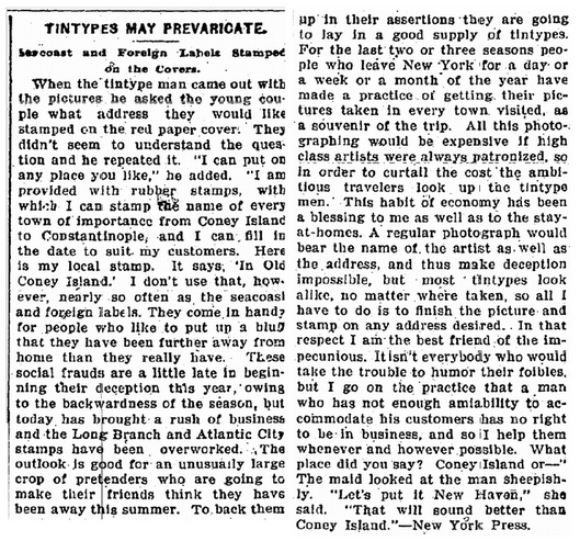 Tintypes May Prevaricate, American Citizen newspaper article 8 November 1901