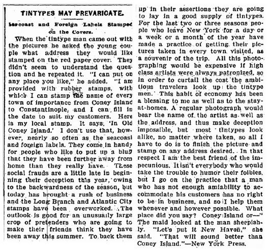 Tintypes May Prevaricate, American Citizen newspaper article 8 November 1901