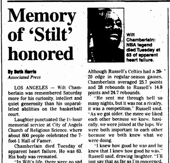Memory of 'Stilt' Honored, Augusta Chronicle newspaper article 17 October 1999