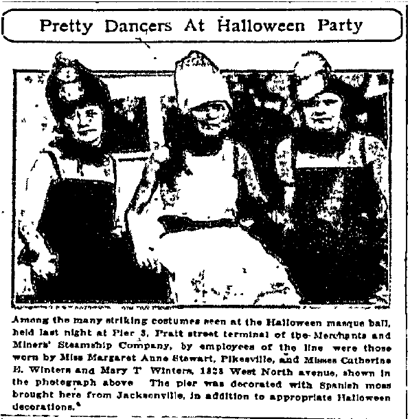 Pretty Dancers at Halloween Party, Baltimore American newspaper article 29 October 1922