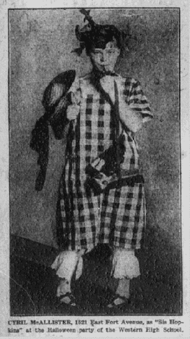 photo of a child wearing a Halloween costume, Baltimore American newspaper article 2 November 1922