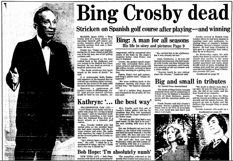 Bing Crosby Dead, Boston Herald newspaper obituary 15 October 1977