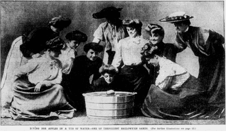 photo of women bobbing for apples on Halloween, Boston Journal newspaper article 18 October 1903