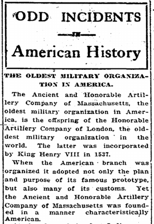 The Oldest Military Organization in America, Charleston News and Courier newspaper article 25 September 1916
