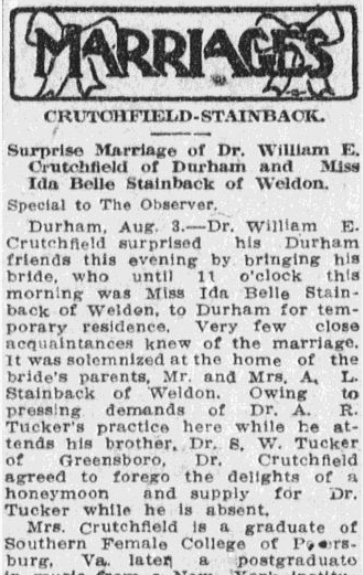 Crutchfield-Stainback wedding announcement, Charlotte Observer newspaper article 4 August 1911