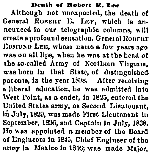 Death of Robert E. Lee, Cincinnati Commercial Tribune newspaper obituary 13 October 1870