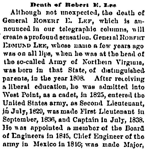 Death of Robert E. Lee, Cincinnati Commercial Tribune newspaper obituary 13 October 1870
