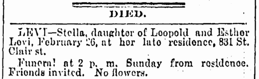 death notice for Stella Levi, Cleveland Leader newspaper article 27 February 1892