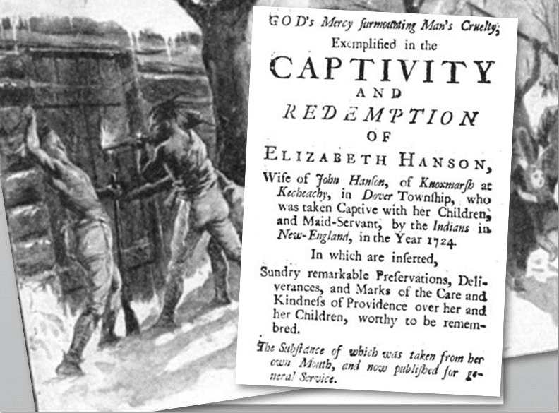 collage showing picture of an Indian attack and the title page of Elizabeth Hanson's account of being captured by Indians in 1724