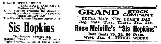 "ticket ads for ""Sis Hopkins,"" Patriot newspaper advertisement 2 January 1900 & Plain Dealer newspaper advertisement 1 January 1919"