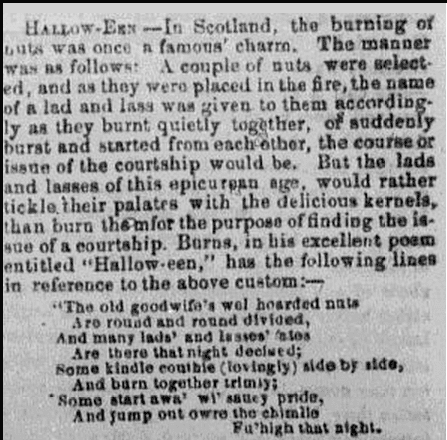 description of Halloween custom in Scotland, Daily Ohio Statesman newspaper article 4 November 1855