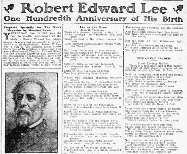 Robert Edward Lee: One Hundredth Anniversary of His Birth, Dallas Morning News newspaper article 20 January 1907