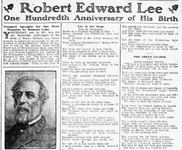 Robert Edward Lee: One Hundredth Anniversary of His Birth, Dallas Morning News newspaper article 20 January 1907