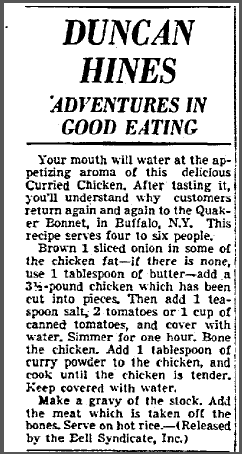 Duncan Hines: Adventures in Good Eating, Dallas Morning News newspaper article 24 August 1948
