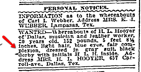 missing husband ad for Henry Hooyer, Dallas Morning News newspaper advertisement 28 August 1907