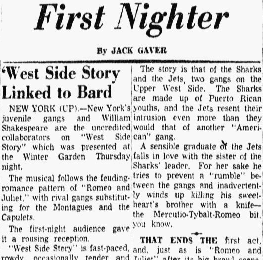 'West Side Story' Linked to Bard, Dallas Morning News newspaper article 27 September 1957
