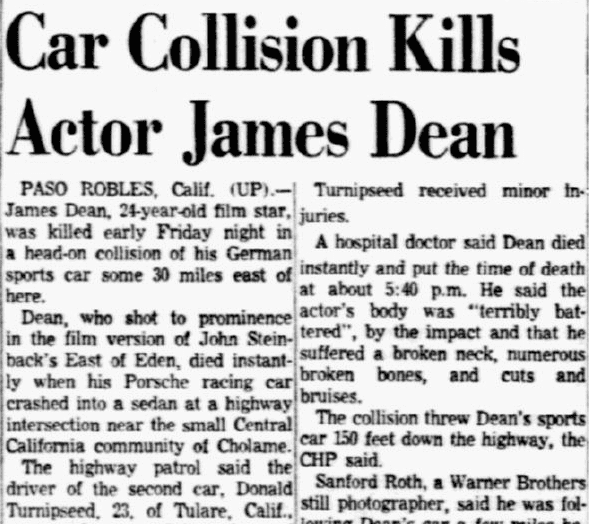 Car Collision Kills Actor James Dean, Dallas Morning News newspaper article 1 October 1955