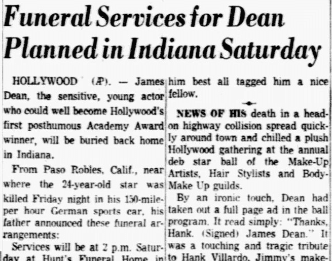 Funeral Services for Dean Planned in Indiana Saturday, Dallas Morning News newspaper article, 3 October 1955