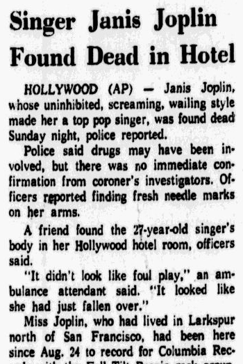 Singer Janis Joplin Found Dead in Hotel, Dallas Morning News newspaper obituary 5 October 1970