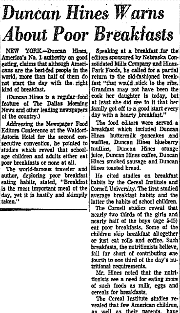 Duncan Hines Warns about Poor Breakfasts, Dallas Morning News newspaper article 8 October 1954