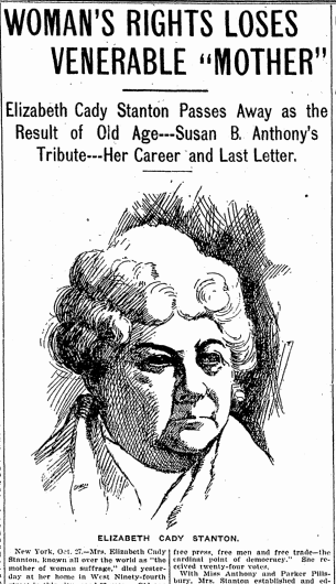 Woman's Rights Loses Venerable 'Mother' [Elizabeth Cady Stanton], Denver Post newspaper obituary 27 October 1902
