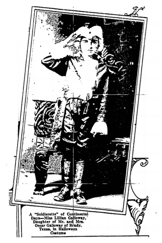 photo of a child wearing a Halloween costume, Fort Worth Star-Telegram newspaper article 25 January 1920
