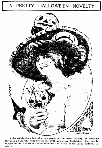 photo of a woman wearing a Halloween costume, Grand Rapids Press newspaper article 28 October 1912