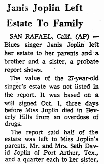 Janis Joplin Left Estate to Family, Greensboro Daily News newspaper article 22 October 1970