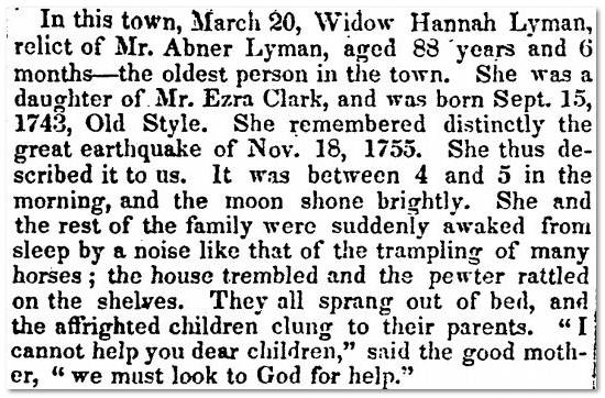obituary for Hannah Lyman, Hampshire Gazette newspaper article 21 March 1832