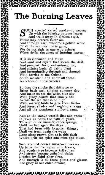 A Poem: The Burning Leaves, Idaho Statesman newspaper article 29 October 1911