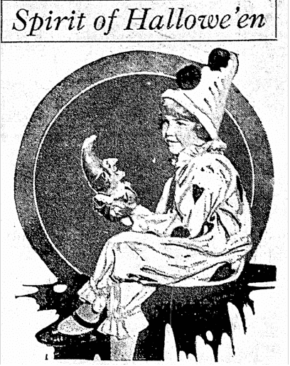 Spirit of Hallowe'en, Jackson Citizen Patriot newspaper photo 29 October 1922