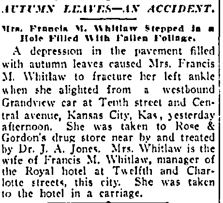 Autumn Leaves: An Accident, Kansas City Star newspaper article 9 November 1908