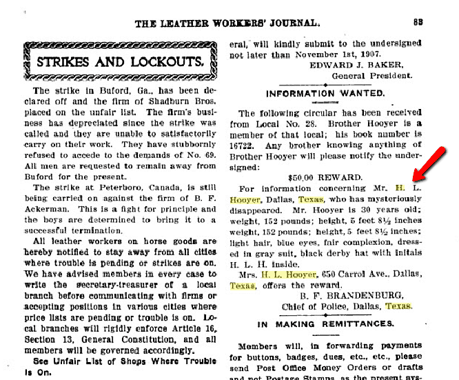 missing husband ad for Henry Hooyer, The Leather Workers' Journal, October 1907