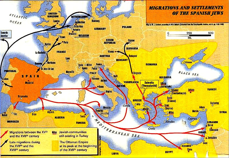 map showing migrations and settlements of the Spanish Jews