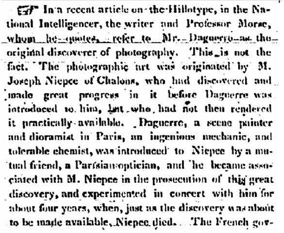 obituary for Louis Daguerre, Massachusetts Spy newspaper article 16 July 1851