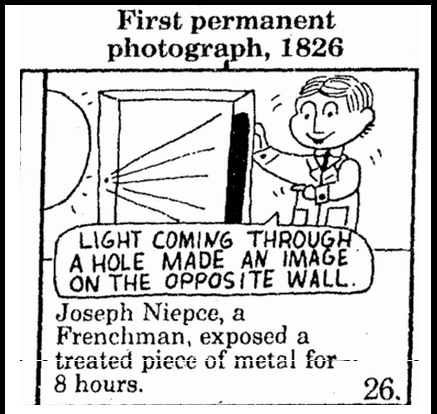 First Permanent Photograph, 1826, Mobile Register newspaper cartoon 24 September 1983