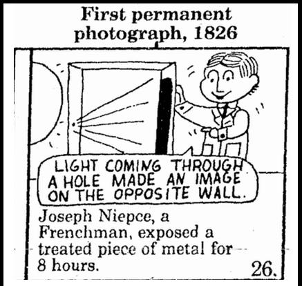 First Permanent Photograph, 1826, Mobile Register newspaper cartoon 24 September 1983