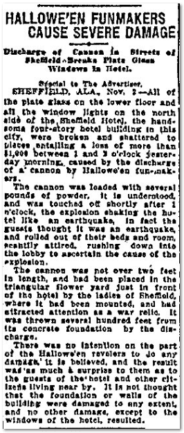 Hallowe'en Funmakers Cause Severe Damage, Montgomery Advertiser newspaper article 1 November 1913