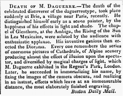 Death of M. Daguerre, New Hampshire Sentinel newspaper obituary 14 August 1851